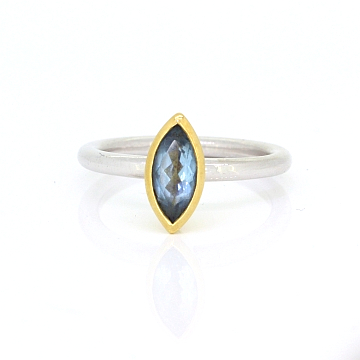 GoldSilverAquamarineStackingRing