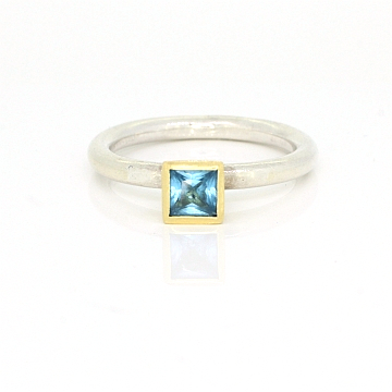 GoldSilverBlueTopazStackingRing